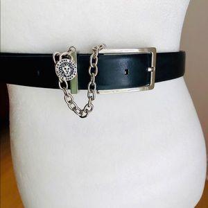 Anne Klein black leather silver lion head about